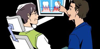 男性歯科医の説明イラスト